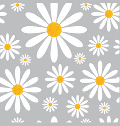 Seamless pattern with chamomile flowers on grey vector