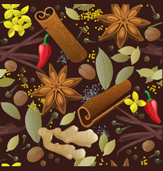 Seamless pattern with different spices vector