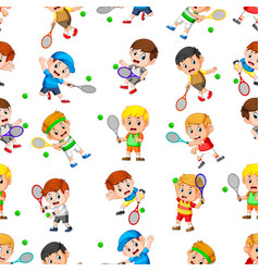 seamless pattern with professional tennis vector image