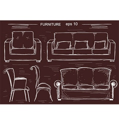 set couch and armchairs sketchy furnitures vector image