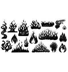 set flame and fire in vintage style hand drawn vector image