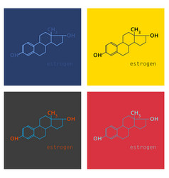 Set of estrogen molecule structure in style vector