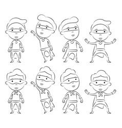 Set of superheroes cartoon character outline vector