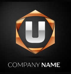 silver letter u logo symbol in golden hexagonal vector image