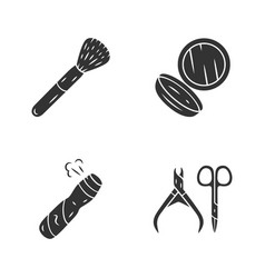 Skin care accessories glyph icons set makeup vector