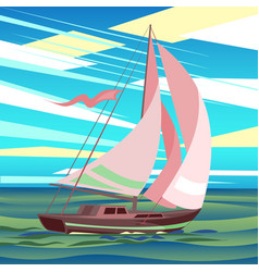 stylized sea landscape with sailboat floating on vector image