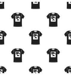 T-shirt icon in black style isolated on white vector