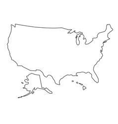 The united states of america map of black contour vector
