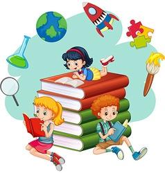 Three kids reading books vector