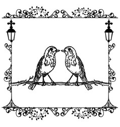 Two birds in a frame vintage vector