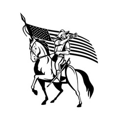 united states cavalry on horse blowing bugle with vector image