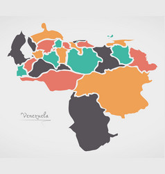 Venezuela map with states and modern round shapes vector