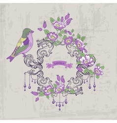 Vintage Card - with Retro Frame Flowers and Birds vector