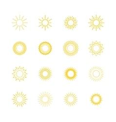Yellow Sun Line Style Design vector image