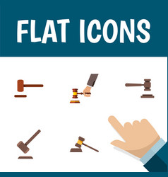 Flat icon court set of legal crime tribunal and vector