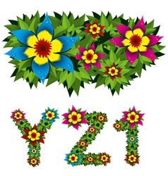 flowers alphabet 09 vector image