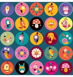 flowers birds mushrooms snails characters circles vector image