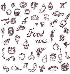 Handdrawn food icons funny style set vector image vector image
