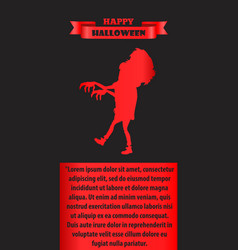 happy halloween poster with silhouette of zombie vector image