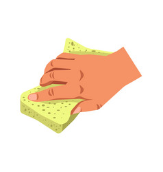 human hand holding sponge tool isolated on white vector image