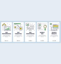 modern thin line seo concept web banner set vector image