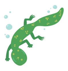 swimming lizard icon cartoon style vector image