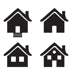 Black and white flat icons Homes isolated vector image vector image