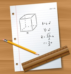 Paper with pencil and ruler vector image vector image