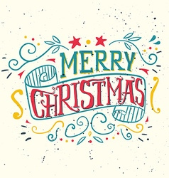 Postcard Christmas Painted in ink Hand lettering vector image
