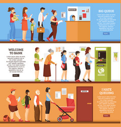 queue horizontal banners set vector image vector image