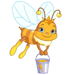 Bee holding a honey bucket vector image vector image