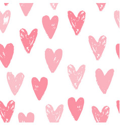 cute pink hearts seamless pattern vector image vector image
