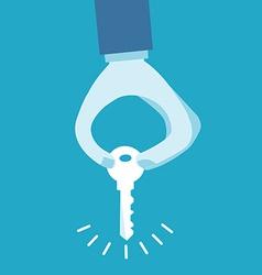 Hand holding key vector