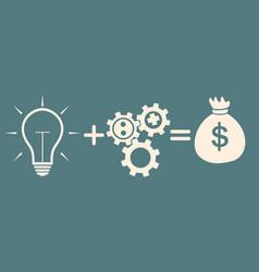 idea concept light bulbgearsmoney vector image vector image