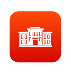 school building icon digital red vector image