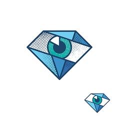 An eye as a diamond corporate identity symbol vector image vector image