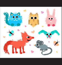 cute animals set painted grunge texture vector image vector image