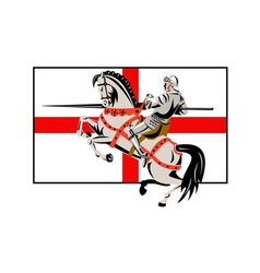 English Knight Lance Horse England Flag Side Retro vector image vector image