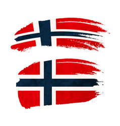 grunge brush stroke with norway national flag on vector image vector image