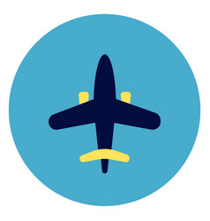plane icon on round blue background vector image