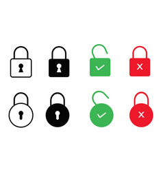 set of lock icons isolated on white background vector image