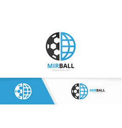 soccer and planet logo combination ball vector image vector image
