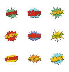 sticker icons set cartoon style vector image