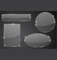 transparent glass plate on metal background vector image vector image