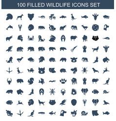 100 wildlife icons vector