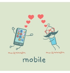 a man in love with mobile vector image