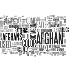 Afghan patterns text word cloud concept vector