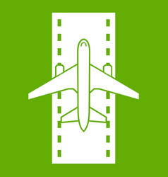 airplane on the runway icon green vector image