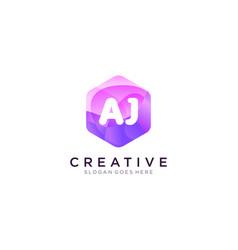 Aj initial logo with colorful hexagon modern vector
