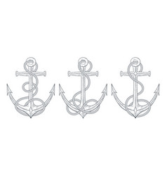 Anchors with rope around set hand drawn vector